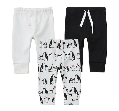 100% Cotton Joggers - 3 pack - Off-White, Black and Penguins