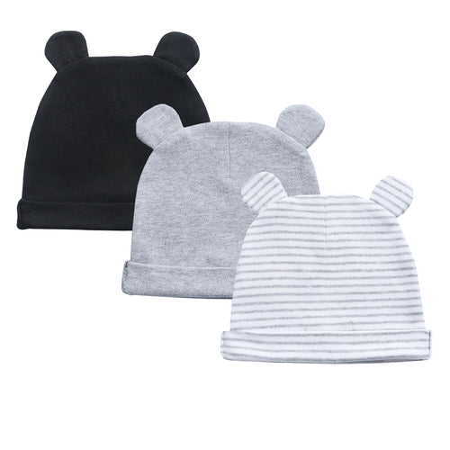 Organic Cotton + Stretch Bear Hats - 3 Pack - Black, grey and stripes