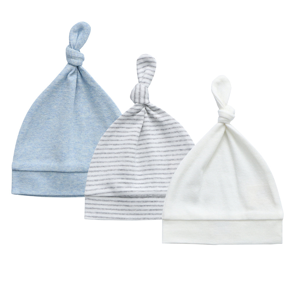 Organic Cotton + Stretch Knot Hat - 3 Pack - White, Blue Melange, Blue Stripe