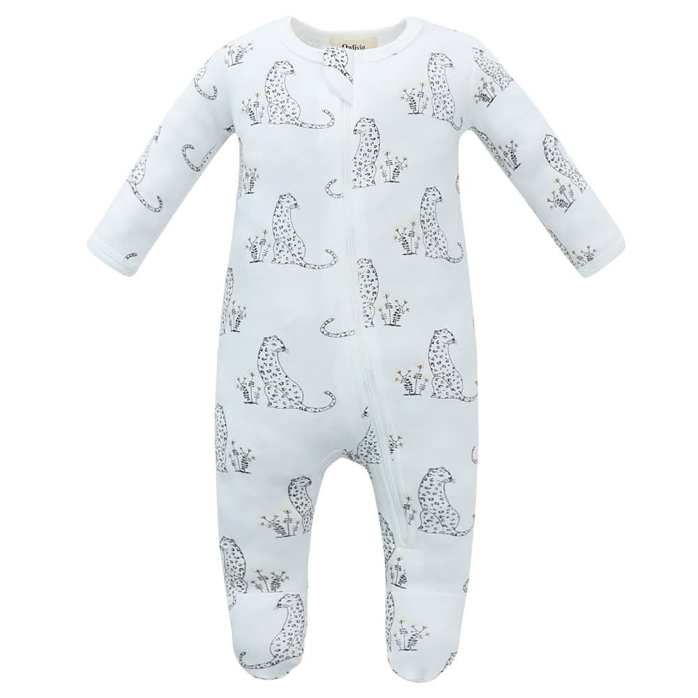 100% Organic Cotton Zip Footed Pajamas - Cheetah