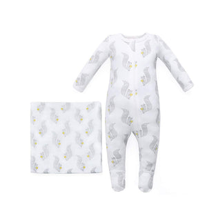 100% Organic Cotton Squirrel Pajama & Squirrel Swaddle