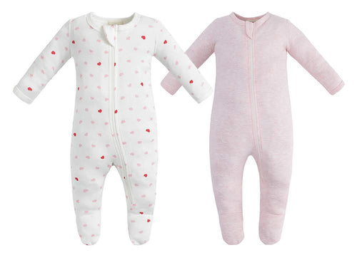 100% Organic Cotton Zip Footed Pajamas  2 Pack - Pink Hearts and Pink Melange
