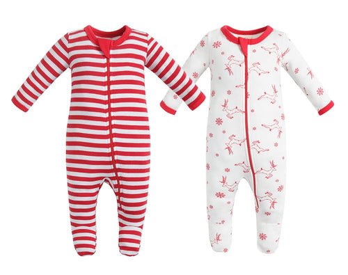 100% Organic Cotton Zip Footed Pajamas  2 Pack - Red Deer and Red Stripe