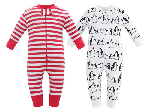 100% Organic Cotton Zip Footed Pajamas  2 Pack - Penguins and Red Stripe