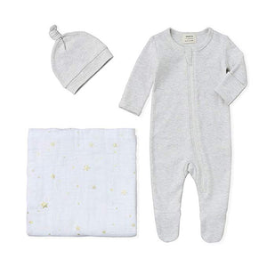 New Baby Bundle - 100% Organic Cotton Grey Melange Pajama & Knot Hat with Gold Star Swaddle