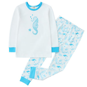 100% Organic Cotton Toddler 2 Piece Pajama Set - Sea Life