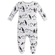 Load image into Gallery viewer, 100% Organic Cotton Zip Footed Pajamas - Penguins
