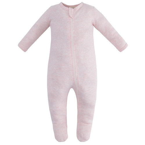 100% Organic Cotton Zip Footed Pajamas - Pink Melange