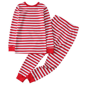 100% Organic Cotton Toddler 2 Piece Pajama Set - Red Stripe