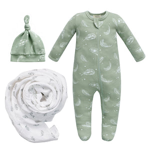 New Baby Bundle - 100% Organic Cotton Sage Feather Pajama & Knot Hat with Swaddle