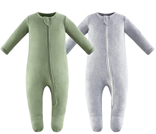 100% Cotton Footed Zip Pajamas - 2 pack - Gray Melange & Sage Green