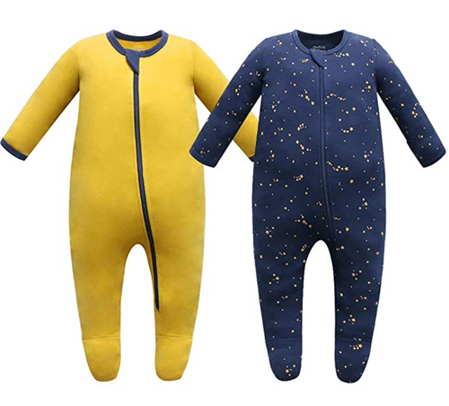 100% Cotton Footed Zip Pajamas - 2 pack - Starry Sky & Mustard