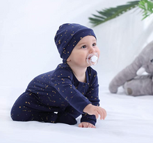 Load image into Gallery viewer, 100% Cotton Footed Zip Pajamas - 2 pack - Starry Sky & Mustard
