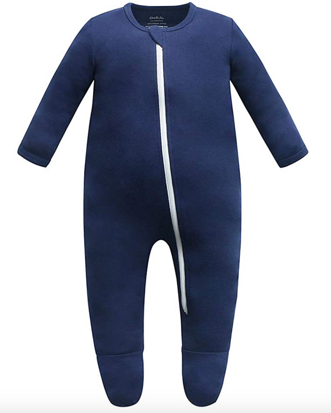 100% Organic Cotton Zip Footed Pajamas - Navy