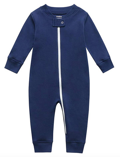 100% Organic Cotton Zip Footless Pajamas - Navy