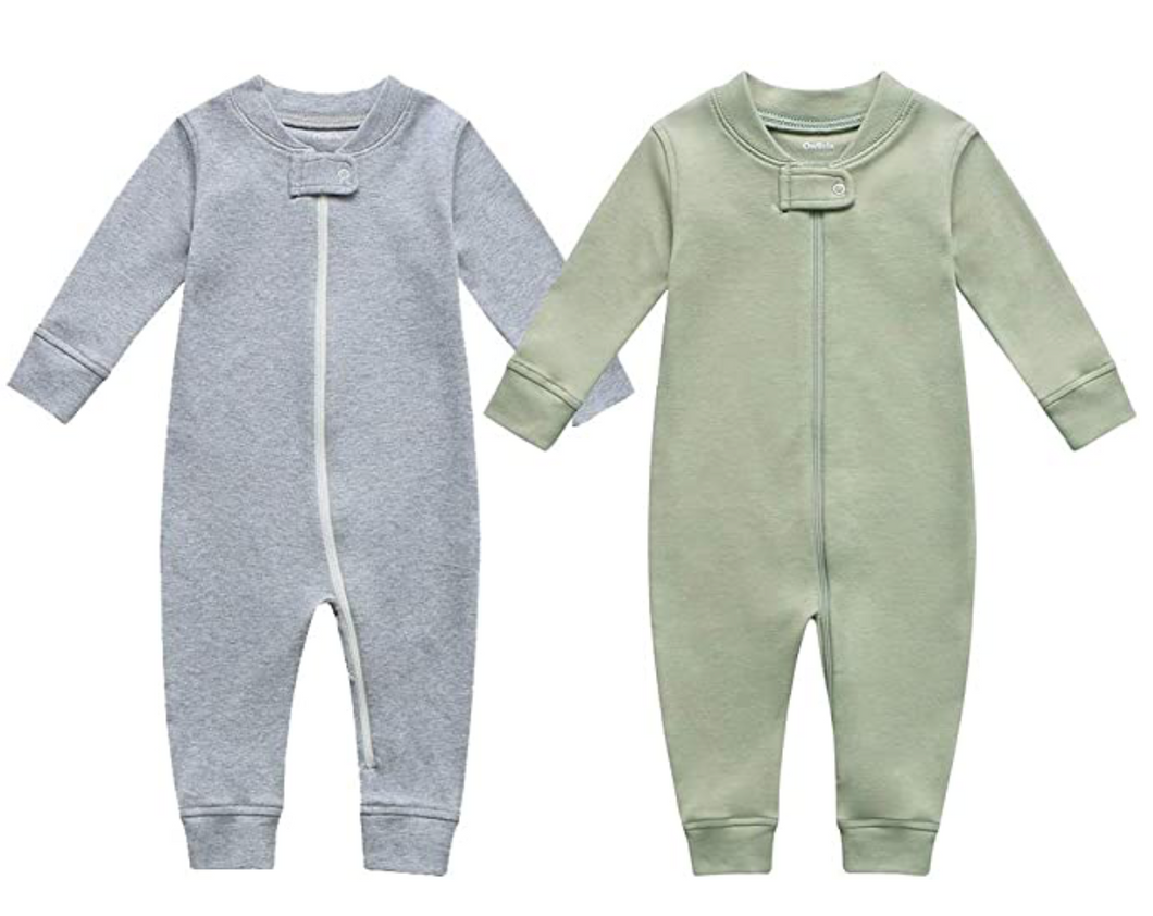 Cotton Footless Zip Pajamas - 2 pack - Dark Gray Melange & Sage Green