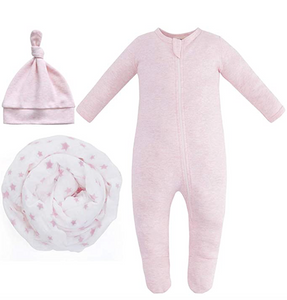 New Baby Bundle - 100% Organic Cotton - Pink Melange Pajama, Knot Hat & Pink Star Swaddle