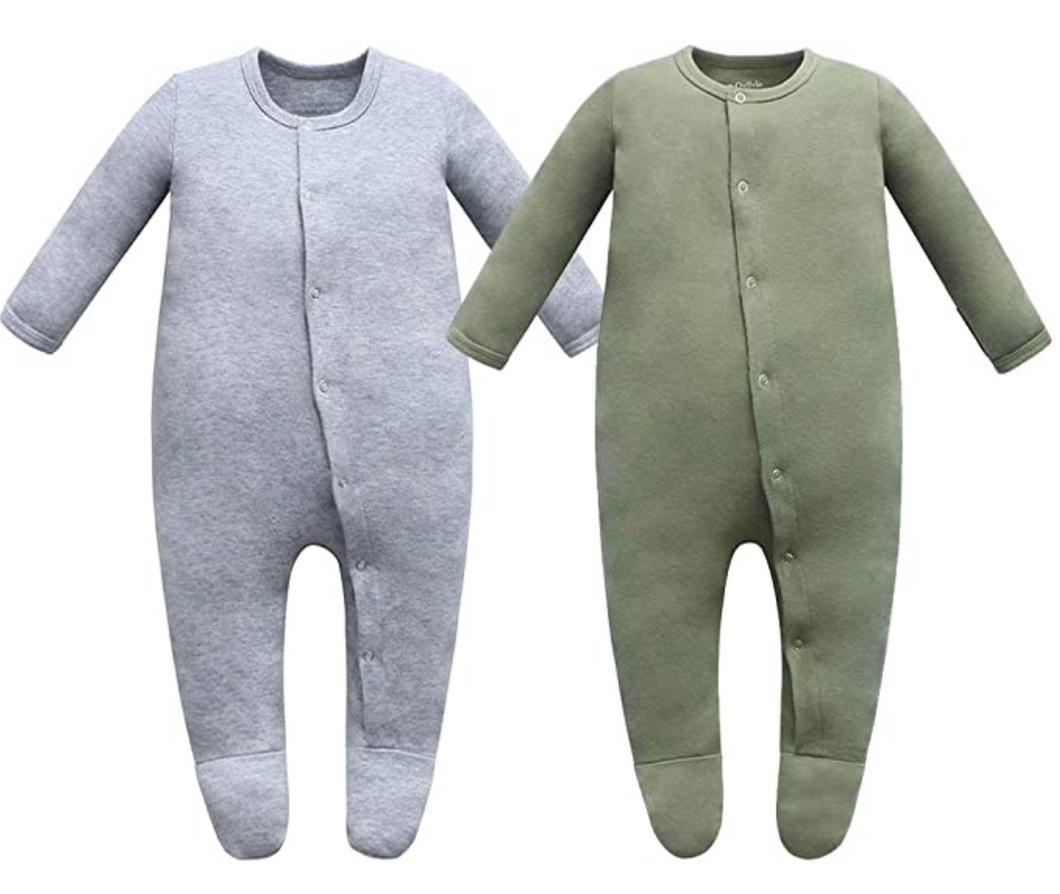 100% Organic Cotton Button Footed Pajamas  2 Pack - Dark Gray Melange & Sage