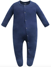 Load image into Gallery viewer, 100% Organic Cotton Footed Button Pajamas - Navy