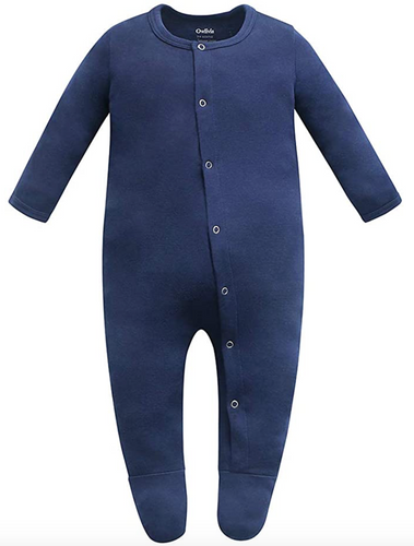 100% Organic Cotton Footed Button Pajamas - Navy
