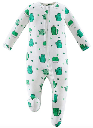 Bamboo & Organic Cotton Blend Zip Footed Pajamas - Cactus