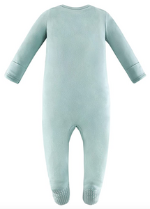 Bamboo & Organic Cotton Blend Zip Footed Pajamas - Seafoam