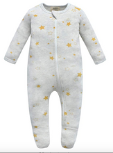 Load image into Gallery viewer, 100% Cotton Zip Footed Pajamas - 2 Pack - Mushroom & Golden Star