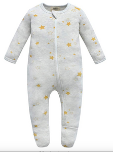 100% Cotton Zip Footed Pajamas - 2 Pack - Mushroom & Golden Star