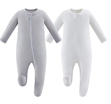 Bamboo & Organic Cotton Blend Zip Footed Pajamas - 2 Pack - Sold White and Gray Dots