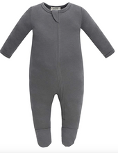 Load image into Gallery viewer, 100% Organic Cotton Zip Footed Pajamas - Dark Grey