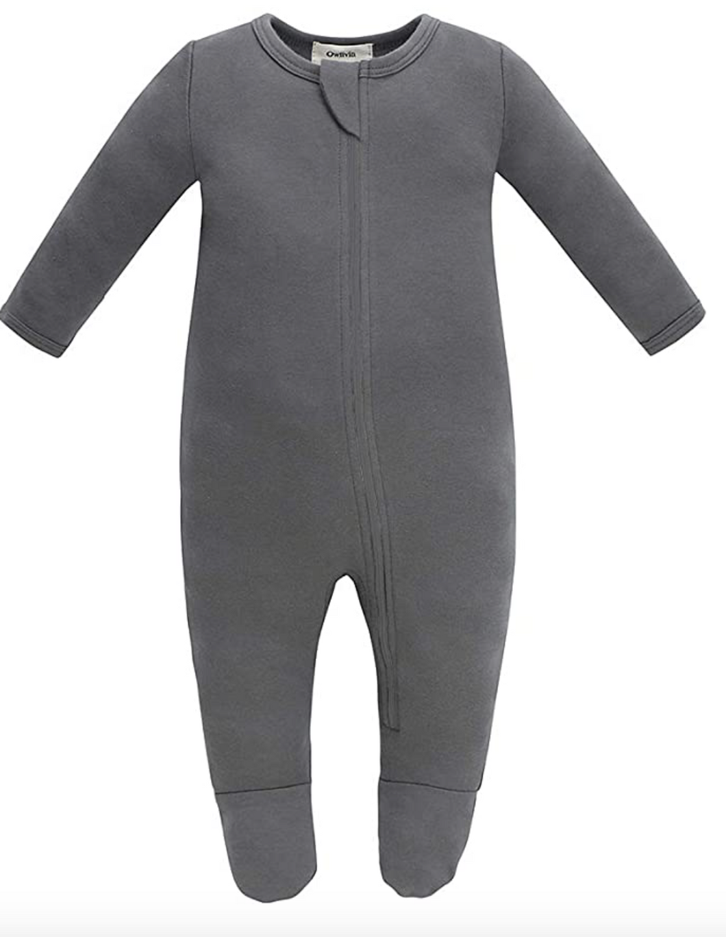 100% Organic Cotton Zip Footed Pajamas - Dark Grey