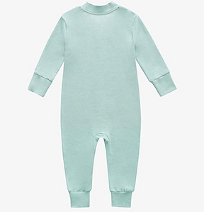 Bamboo & Organic Cotton Blend Zip Footless Pajamas - Seafoam