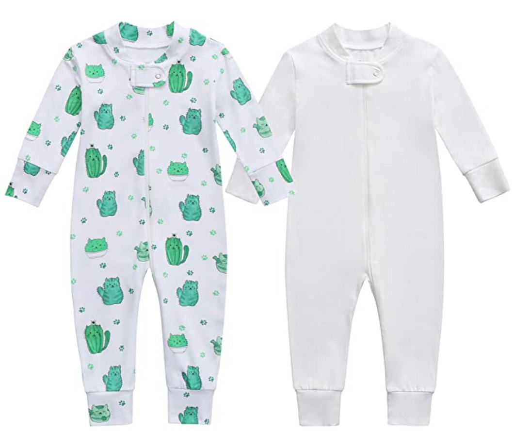Bamboo & Organic Cotton Blend Zip Footless Pajamas 2 pack- Cactus and Off-White