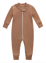 Load image into Gallery viewer, Bamboo & Organic Cotton Blend Zip Footless Pajamas - Camel