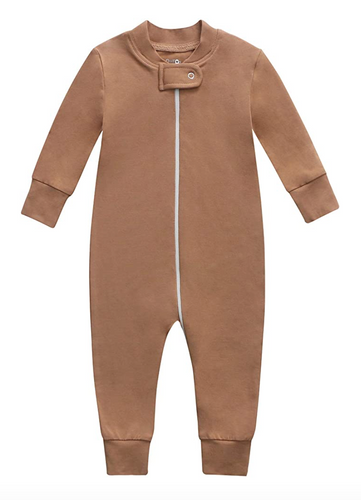 Bamboo & Organic Cotton Blend Zip Footless Pajamas - Camel