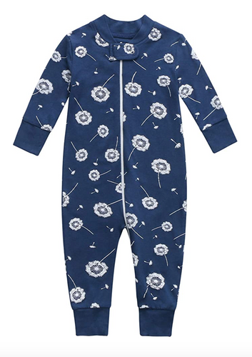 Bamboo & Organic Cotton Blend Zip Footless Pajamas - Dandelion