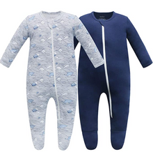 Load image into Gallery viewer, 100% Organic Cotton Blend Zip Footed Pajamas - 2 Pack - Wave and Navy