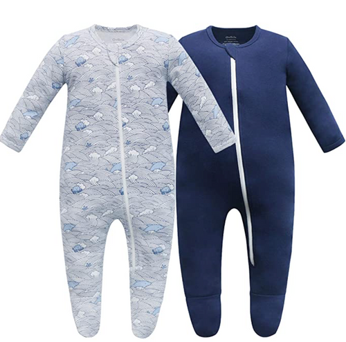 100% Organic Cotton Blend Zip Footed Pajamas - 2 Pack - Wave and Navy