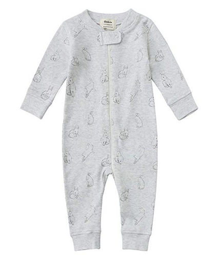 100% Organic Cotton Zip Footless Pajamas - Gray Rabbit