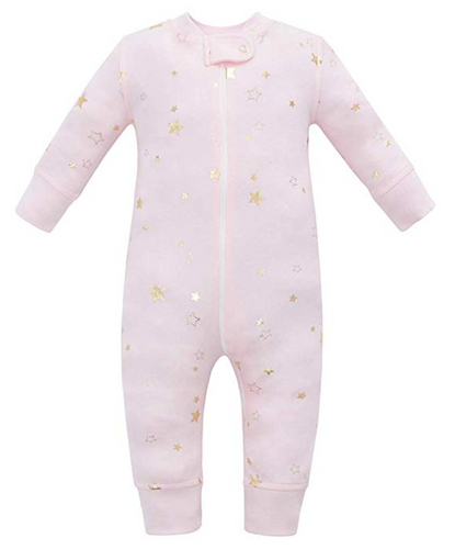 100% Organic Cotton Zip Footless Pajamas - Pink Metallic Star