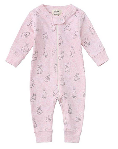 100% Organic Cotton Zip Footless Pajamas - Pink Rabbit