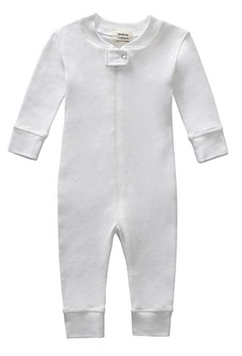 100% Organic Cotton Zip Footless Pajamas - Off White