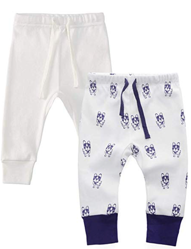 100% Cotton Joggers - 2 pack - Off-White and Violet Dogs