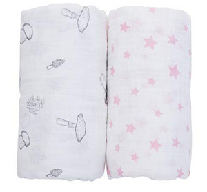 100% Organic Cotton Swaddle - 2 pack -Pink Stars and Mushroom