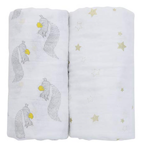 100% Organic Cotton Swaddle - 2 pack -Gold Stars and Squirrels