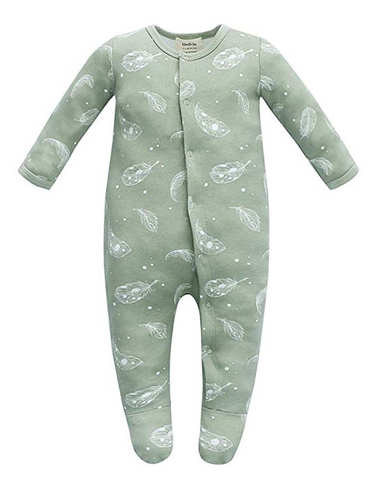 100% Organic Cotton Footed Button Pajamas - Sage Feather