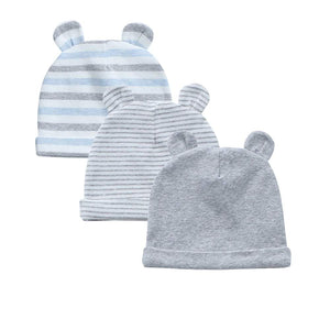 Organic Cotton + Stretch Bear Hats - 3 Pack - Grey Stripes
