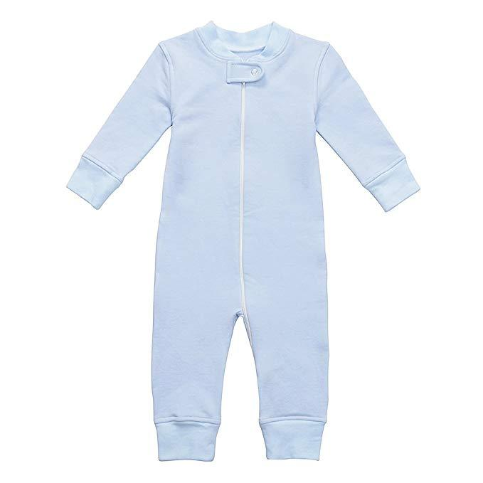 Fleece Footless Zip Pajamas - Blue
