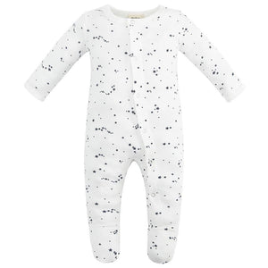 100% Organic Cotton Footed Button Pajamas - Blue Stars