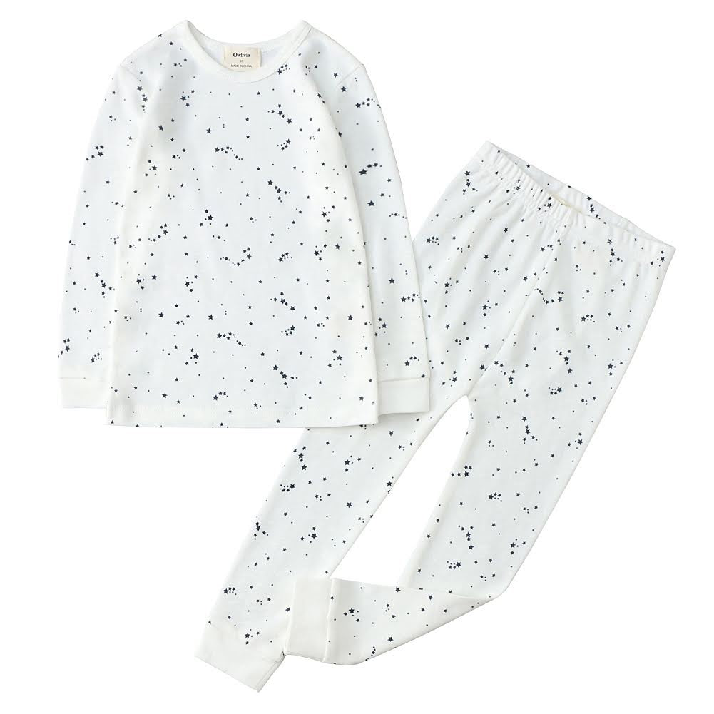 100% Organic Cotton Toddler 2 Piece Pajama Set - Blue Stars